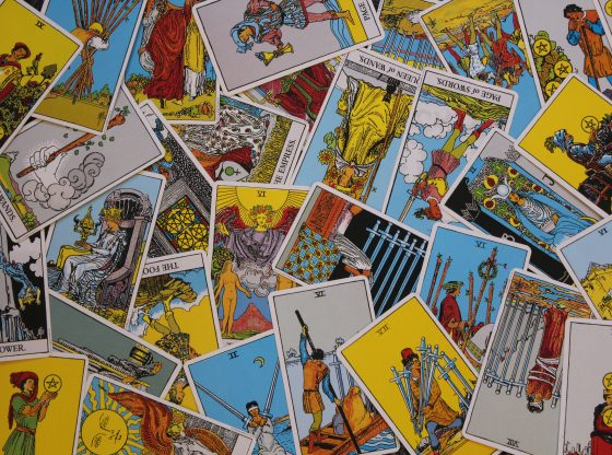 scattered tarot cards