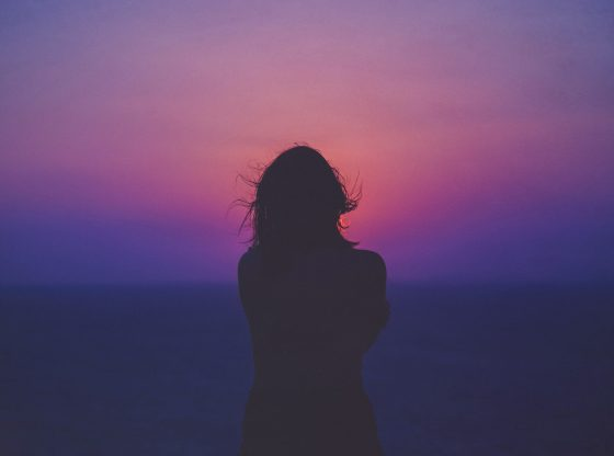 womans silhouette at dusk